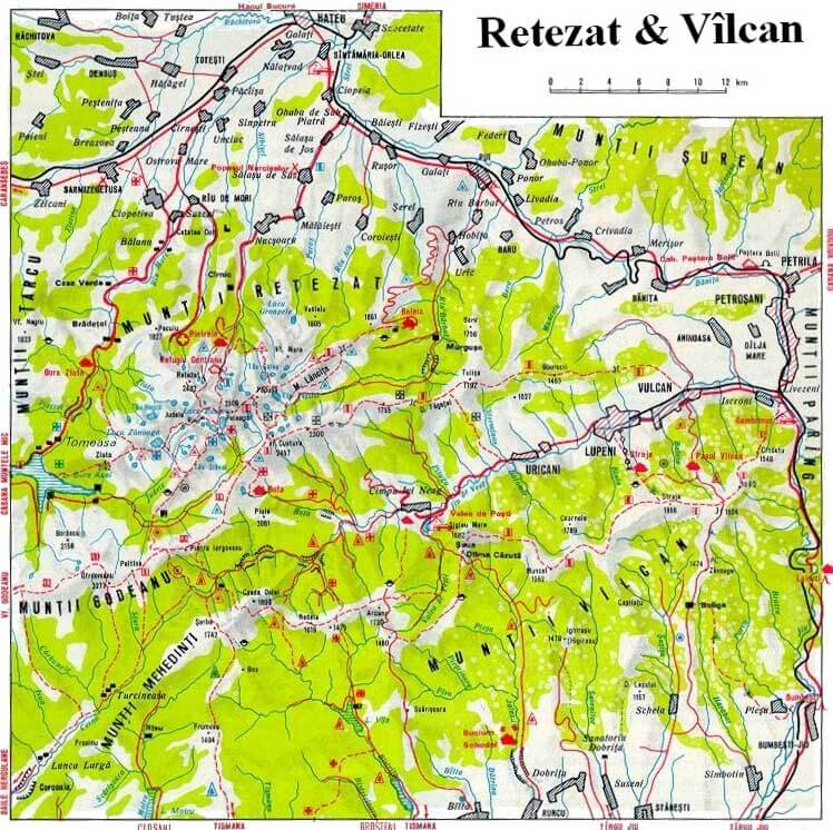 Harta Retezat Valcan