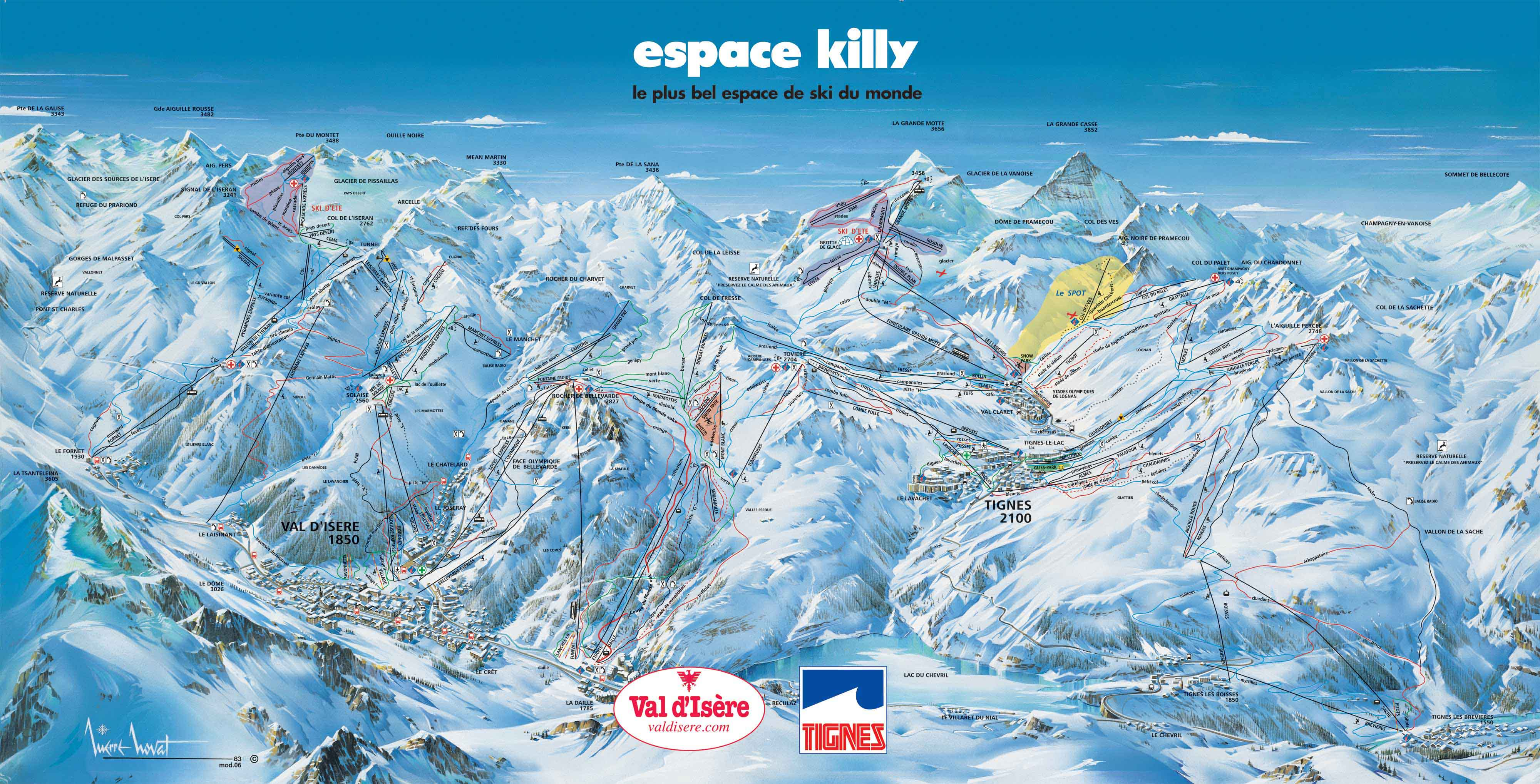 espace killy ski map