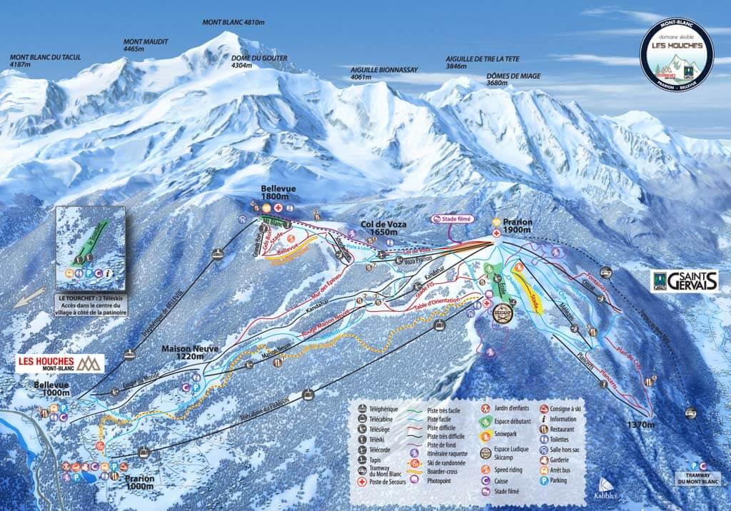 Chamonix-Les Houches-Ski-Map
