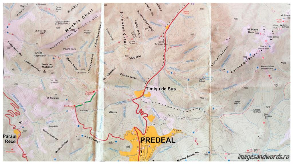 Hartă Postăvaru - Trei Brazi - Poiana Secuilor